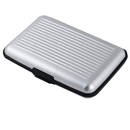 CREDIT CARD OR BUSINESS CARD HOLDERS 6 METAL SILVER TONE  ID