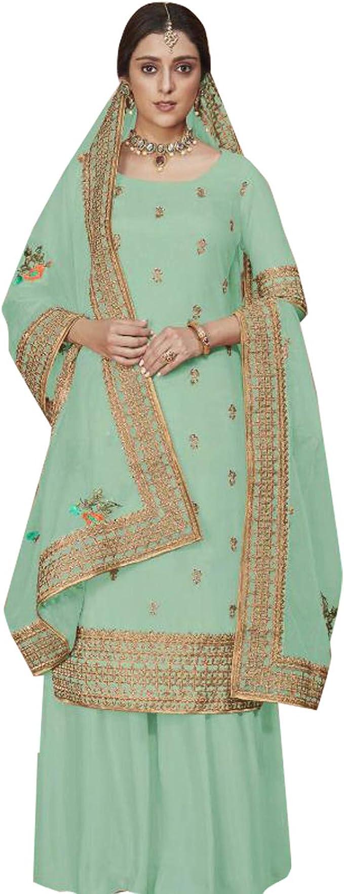 Women Designer Pakistani Sharara Salwar Kameez Bollywood Stylish Palazzo Kurta