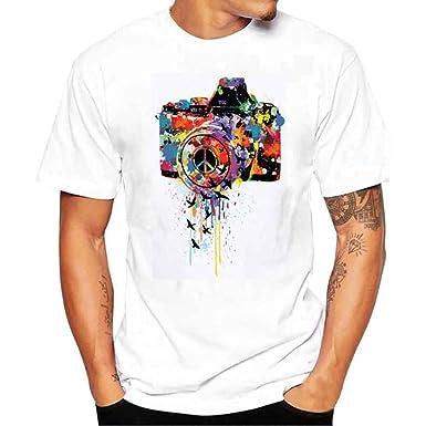 611eeb7369 Bestoppen Men's T Shirts White,Men Summer Fasion Short Sleeve Crew Neck Tee  Shirt Tops Regular Fit Print T Shirts Polo Novelty Casual Cotton Blouse ...