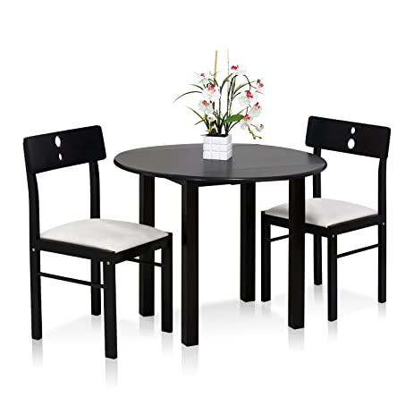 Merveilleux FURINNO Cos Drop Leaf 3 PC Solid Wood Dining Set, FKCD075 3