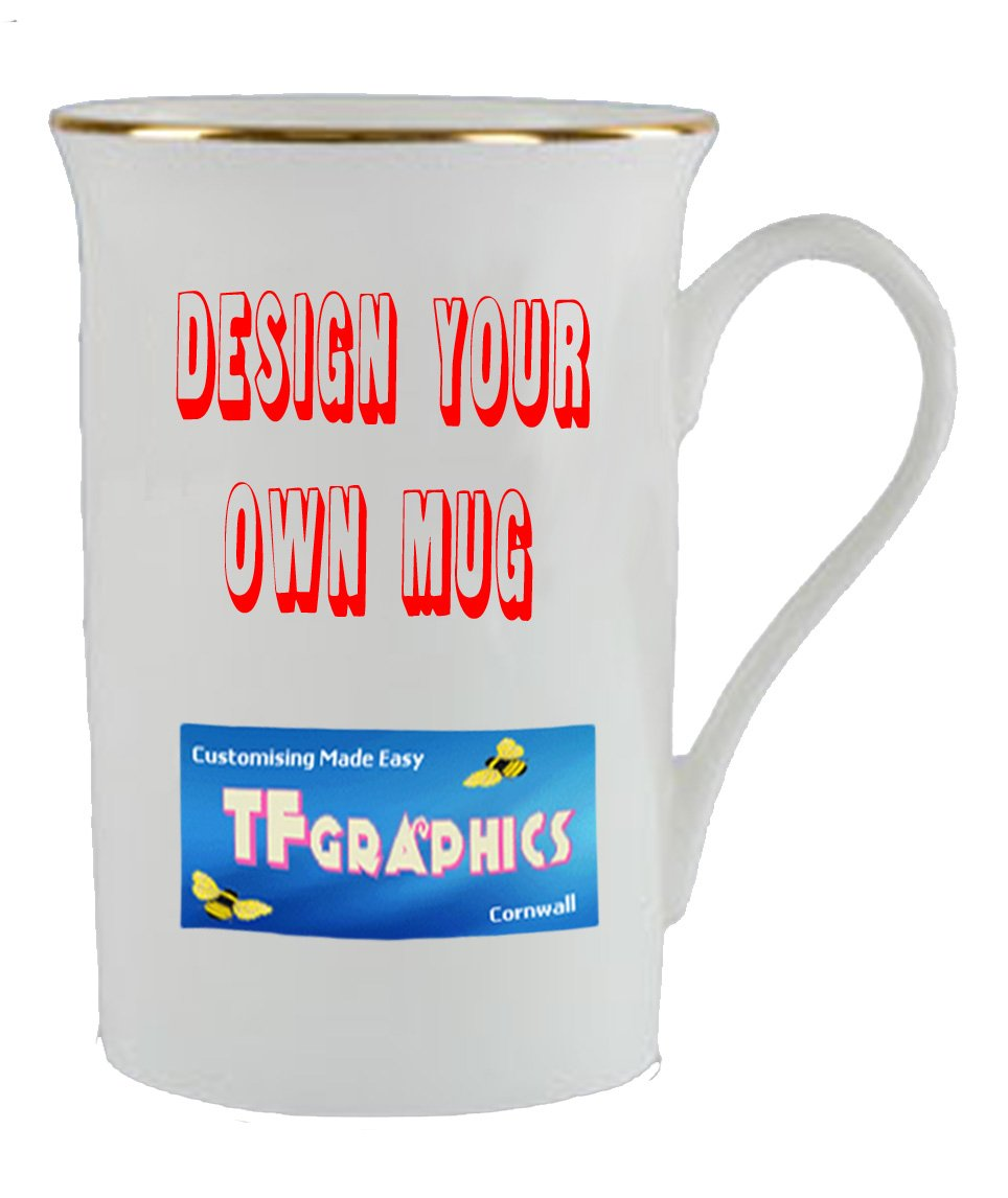Design Your Own Custom Gold Rim Bone China Mug - Personalised with your Design TF Graphics