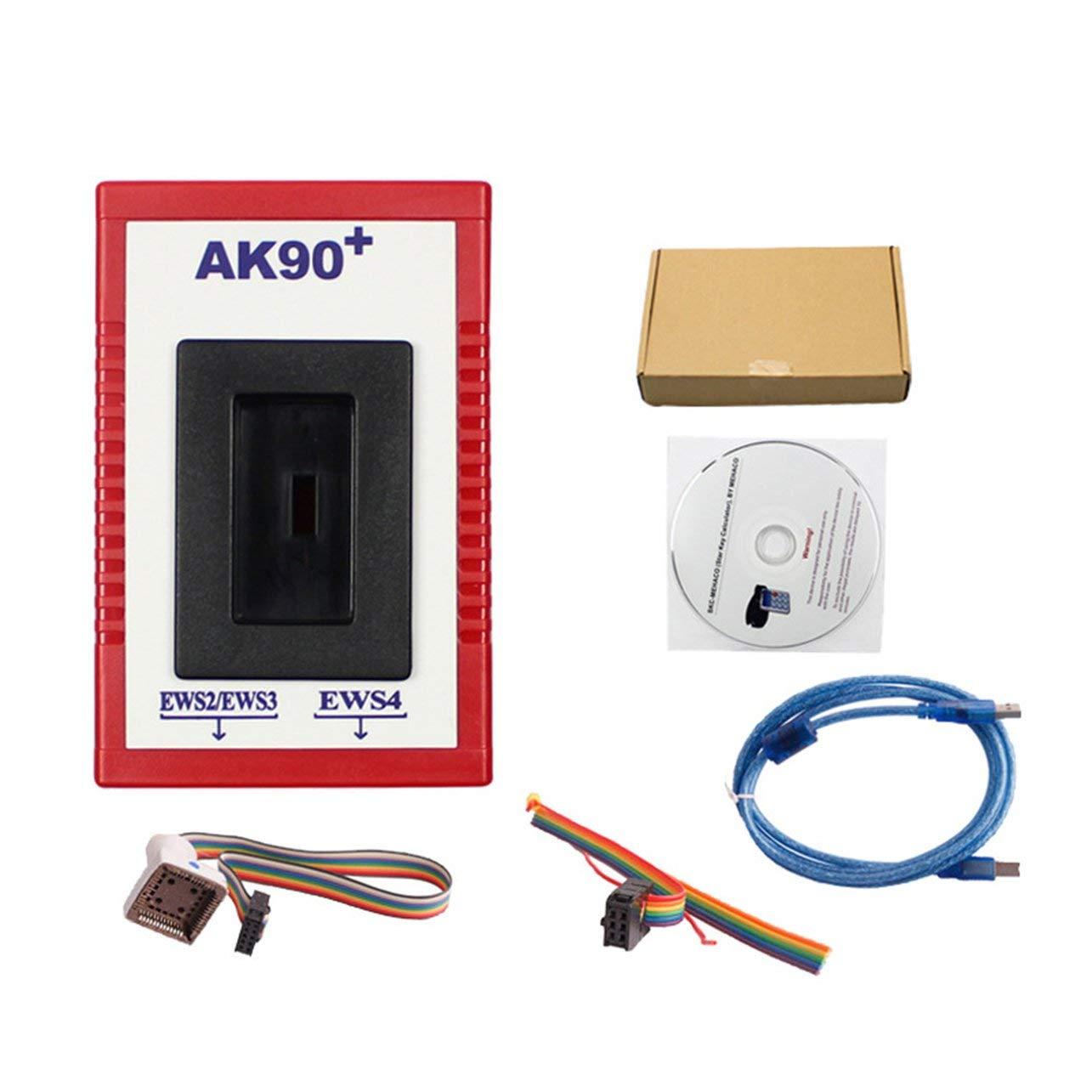 WOSOSYEYO Professional AK90 Auto Car Key Programmer for BMW EWS AK90 with Cable Key Programming Kit Identifying Keys