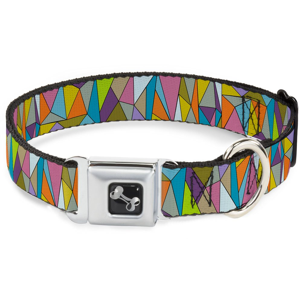 Buckle-Down 9-15  Stained Glass Mosaic Multi color Dog Collar Bone, Small