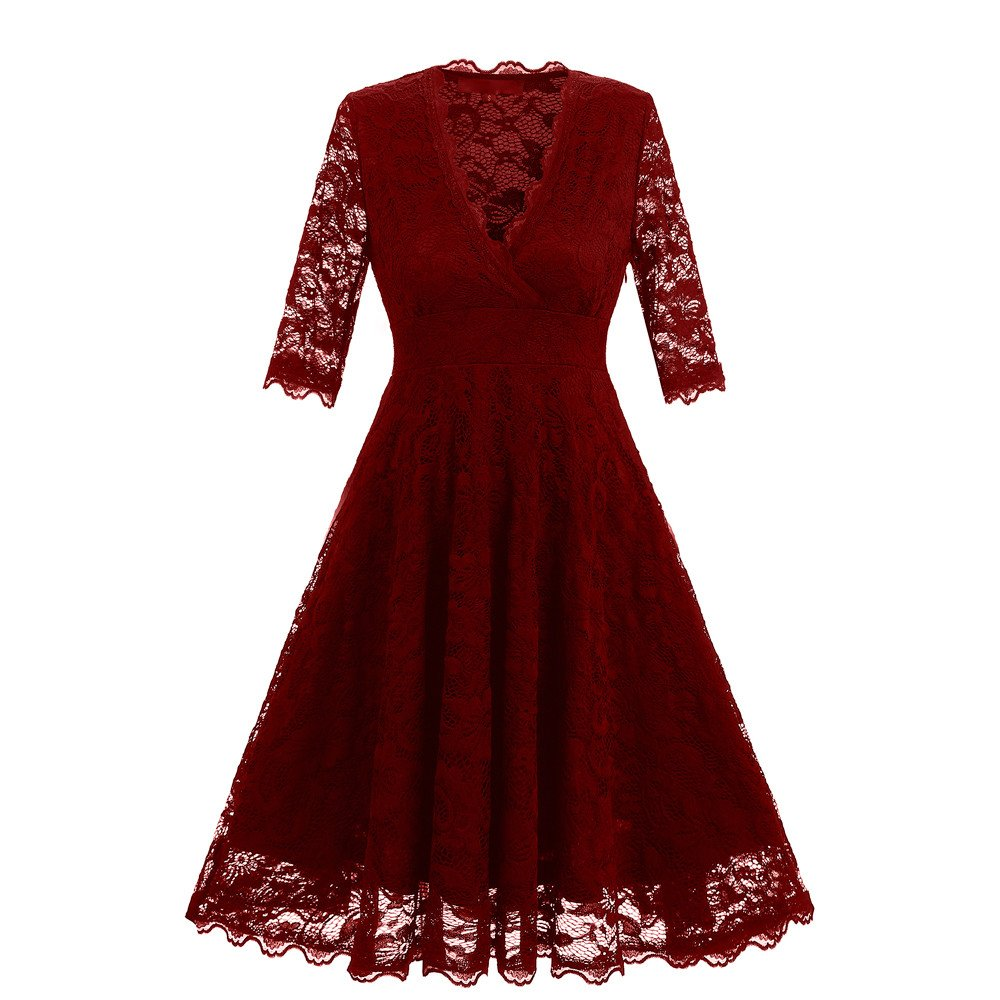 Party Dresses For Women Liraly New Fashion Women Floral Lace V-Neck Vintage Lady Party Formal Swing Bridesmaid Dress(Wine ,US-6 /CN-M)
