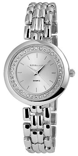 Excellanc llanc Mujer Reloj con correa de metal color plata con cristales brillantes Moderno elegante mujer reloj de pulsera: Amazon.es: Relojes