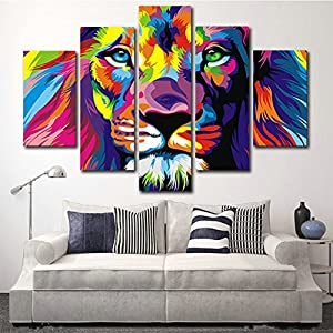 AtfArt 5 Piece Original Animal Oil painting pictures Art print on the canvas, wall decor, Home wall art picture,color, Lion king (No Frame) Unframed FCR15 50 inch x30 inch