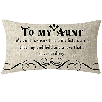 NIDITW Nice Auntie Aunt Gift from Nephew Niece with Inspirational Quotes  Body Lumbar Cotton Linen Throw Pillow Cover Cushion Case Pillow Sham Home  ...