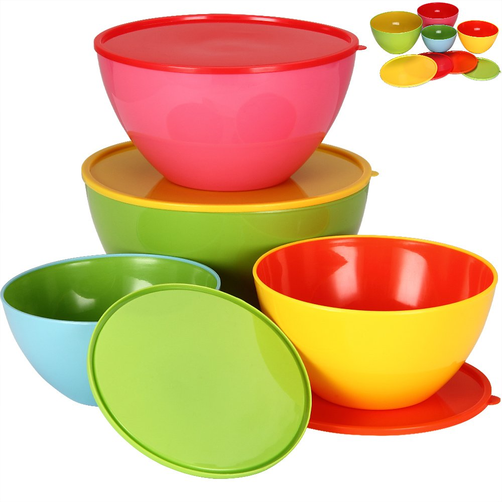 Deuba 8 Pieces Bowls Set with Lids | Mixing, Serving, Salad & Fruit Bowl, Food Storage, Plastic, Colourful, Round, Cover (4x Bowls 4l / 2.7l / 1.8l / 0.9l with Lids) | Aroma Protection Lid, Keep Fresh System
