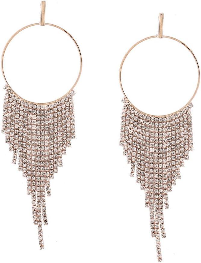DENGDAI Tassel Earrings for Women,Luxury Diamond Stud Earrings Personality Geometric Large Circle Full Diamond Chain Tassels Wild Earrings