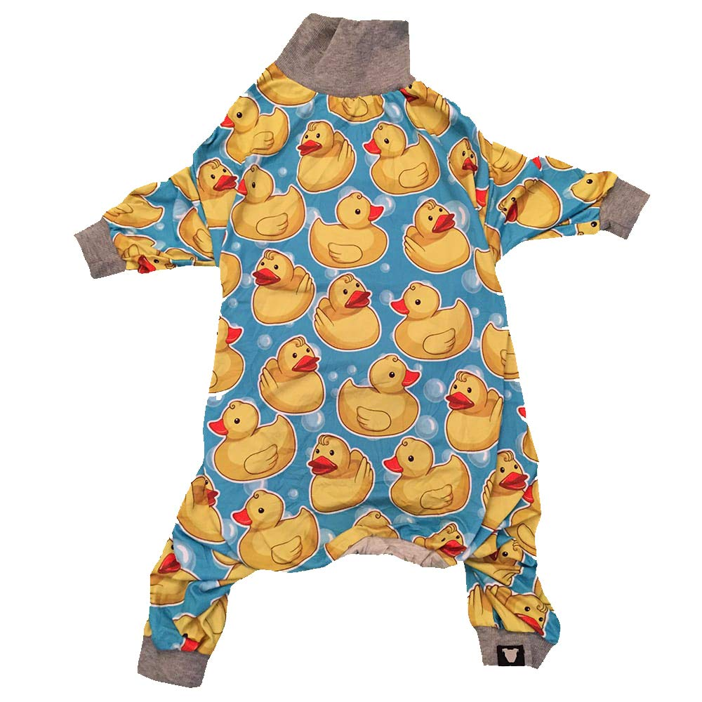Tooth and Honey Pit Bull Pajamas/Rubber Duck Print/Lightweight Pullover Pajamas/Full Coverage Dog pjs/Yellow with Grey Trim (XL)