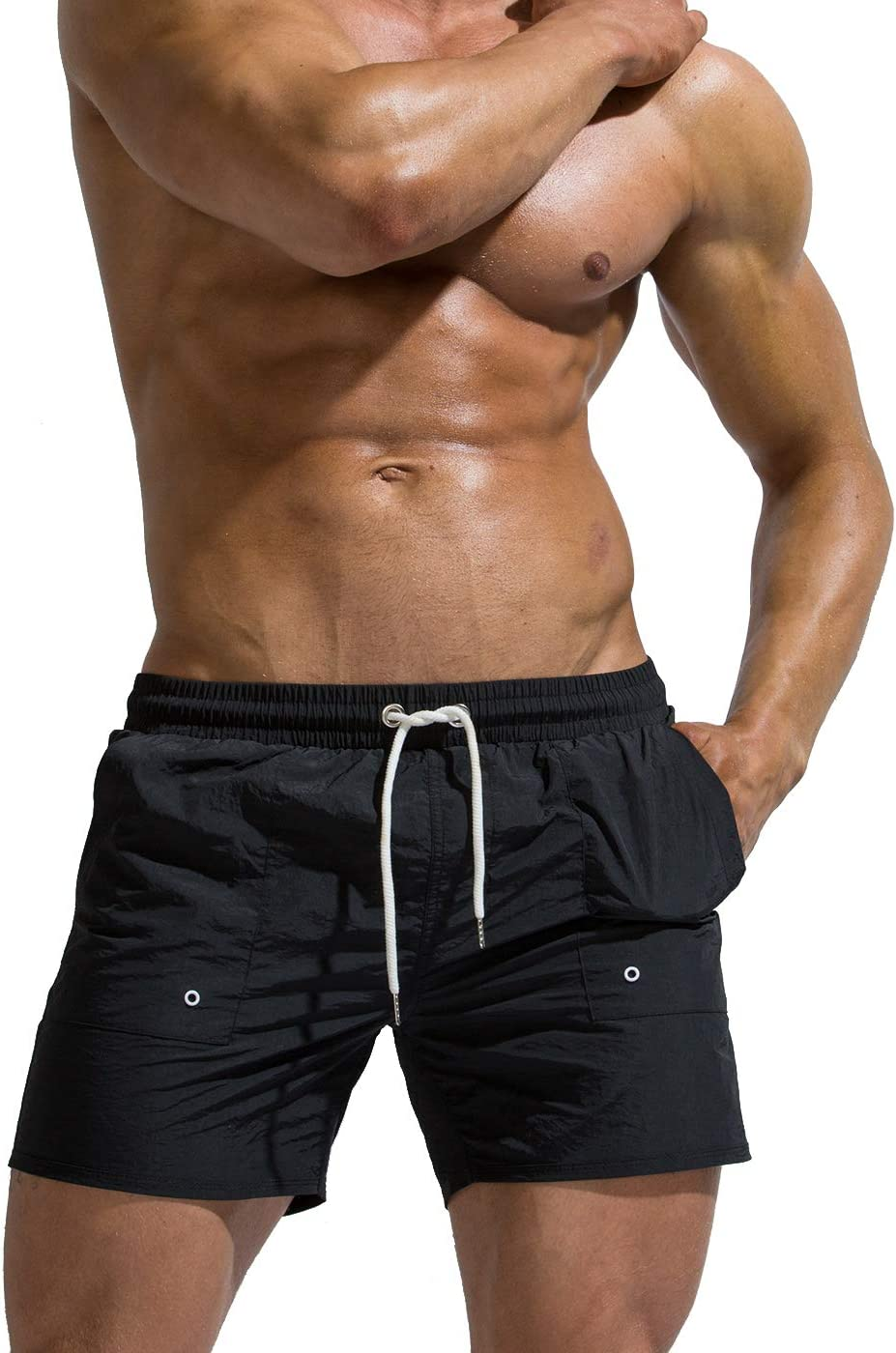 TOFERN Solid Color Beach Board Shorts Adjustable Drawstring Men Athletic Shorts Bathing Suit with Mesh Lining