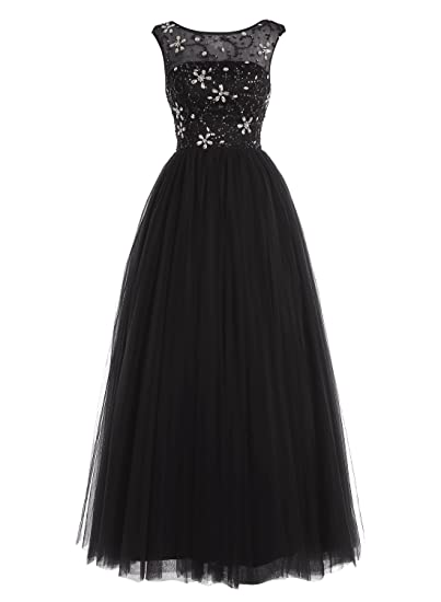 Bbonlinedress A Line Long Tulle Open Back Prom Dress Full of Beads Evening Party Dresss