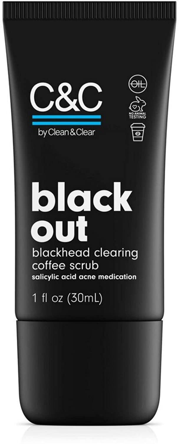 """C&C by Clean & Clear Black Out Blackhead Clearing Coffee Facial Scrub with Salicylic Acid, Oil-Free Exfoliating Face Wash for Acne Prone Skin, Not Tested on Animals, 1.0 fl. oz."