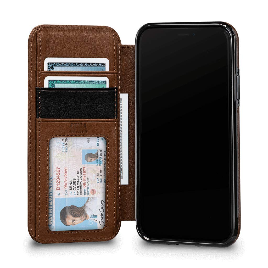 Sena Cases, Deen Wallet Book Leather Case for iPhone Xs Max (Saddle)