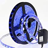 LAIMAIK LED Strip Light kit Blue with US Power Supply IP65 Waterproof SMD 5050 LED Ribbon Tape DC12V with self Adhesive…