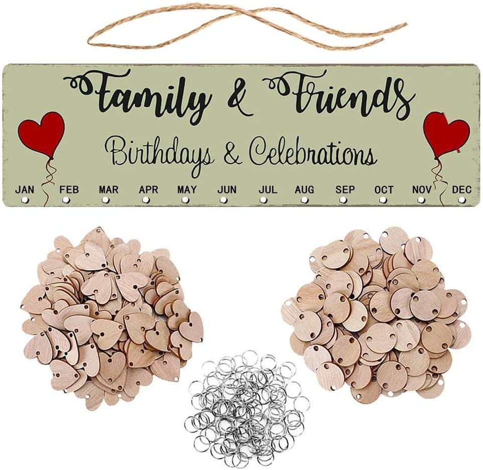 Cascat Wooden Calendar Plaque-DIY Wooden Birthday Anniversary Wall Hanging Plaque-with 50 Pieces Wood Heart Tags,50 Pieces Wood Round Tags