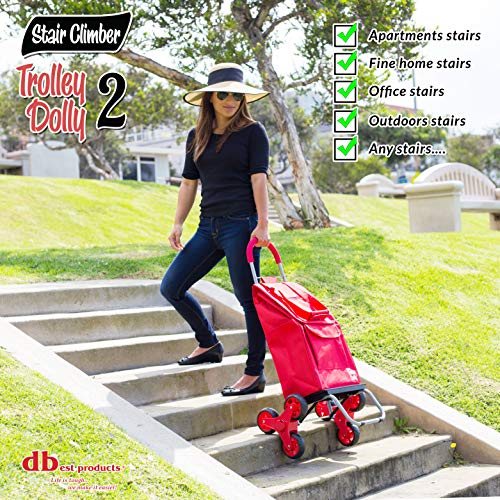 dbest products Stair Climber Trolley Dolly 2, Red Shopping Grocery Foldable Cart Condo Apartment