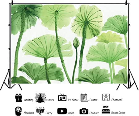9x16 FT Lotus Vinyl Photography Background Backdrops,Far East Symbols with Carp Koi Water Lilies and Dragonfly on Dotted Backdrop Background Newborn Baby Portrait Photo Studio Photobooth Props