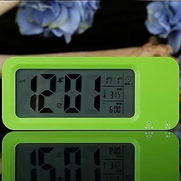 KHSKX Alumno Creativo Breve silenciando el Despertador Reloj Digital, Reloj Moda, Perezosa Noche electrónica Carga niños Despertador, Green: Amazon.es: ...