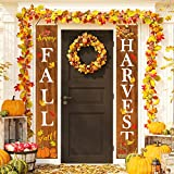 Whaline Fall Harvest Hanging Banner, Fall Porch Sign Autumn Pumpkin Maple Leaf Backdrop Flag for Home Yard Indoor Outdoor Wall Door Thanksgiving Party Decorations, 12 x 72 Inch: more info