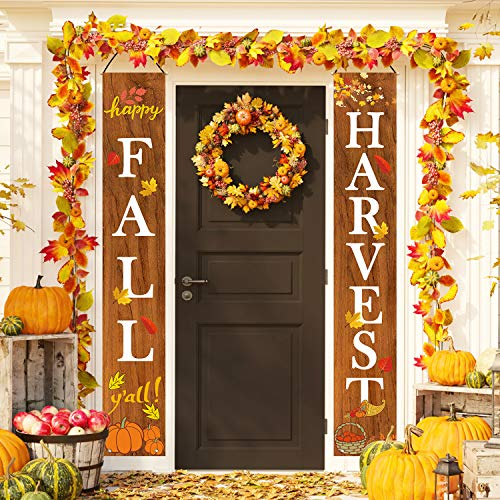 Whaline Fall Harvest Hanging Banner, Fall Porch Sign Autumn Pumpkin Maple Leaf Backdrop Flag for Home Yard Indoor Outdoor Wall Door Thanksgiving Party Decorations, 12 x 72 Inch (Outdoor Fall Party)