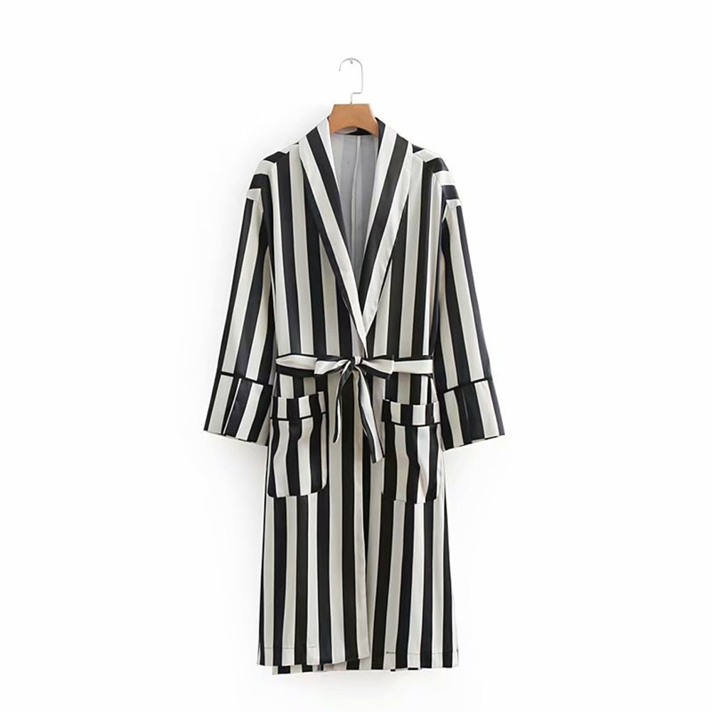 1 Women's Long Coat Stripe Loose Robe Ladies Stylish Long Sleeve Belted Trench Coat (color   1, Size   M)