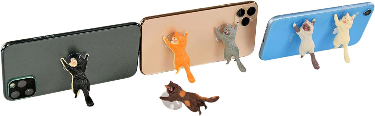 """HOME-X Cat Suction Phone Stand, Cell Phone Stand, Cell Phone Accessories, Set of 6 – 2 ½"""" L x 1"""" W"""
