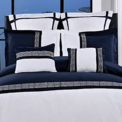 amazon modern navy white lightweight bedding duvet cover euro shams set full queen home kitchen covers south africa california king quilt australia