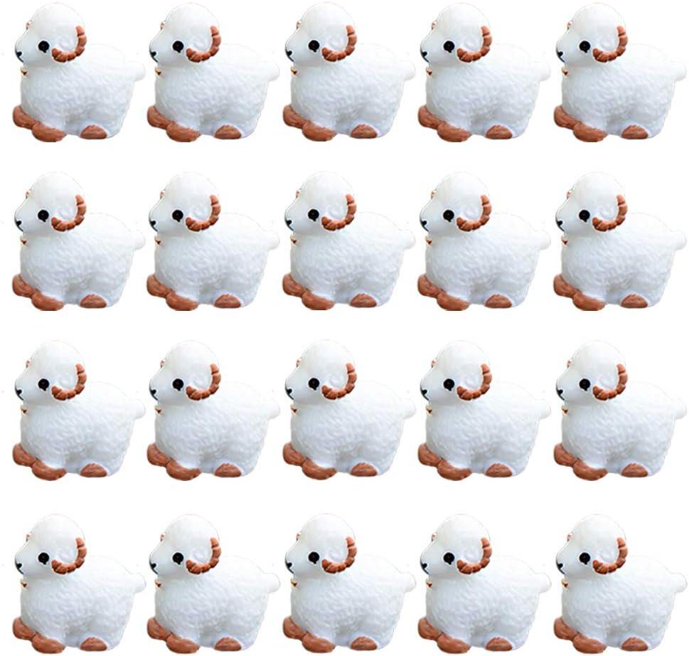 DOYIFun 20pcs Miniature Garden Decor, Mini Sheep Animals Home Micro Fairy Garden Figurines Miniatures Home Garden Decor DIY Accessories