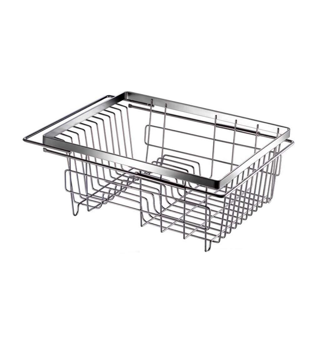 LF-Küchenregal Abtropfgestell Abtropffläche, verstellbare Waschbecken Sieb Küche Organizer Teller Halter Abtropfbrett für Gemüse und Obst