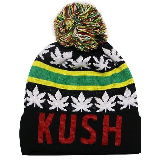 City Hunter Sk1160 Kush Leaves Pom Pom Beanie Hats (13Colors) (Black/black)