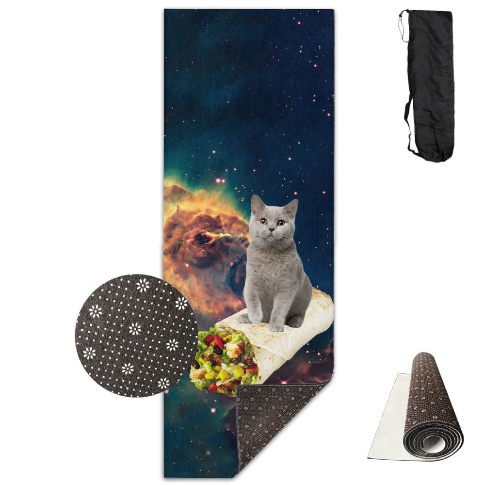 FHIEOMAT Unisex Cat And Mexican Chicken Roll Yoga And Pilates Mat Exercise Mat With Carrying Bag