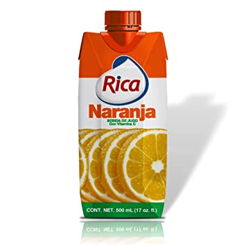 Orange Juice Drink 1/2 Lt Jugo de Naranja Rica 500 Ml (4 Pack