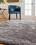 NaturalAreaRugs Cerdena Polyester Shag Area Rug, Durable, Luxurious, Soft, Cotton & Polyester Mixed Canvas, Silver, 5' x 8'
