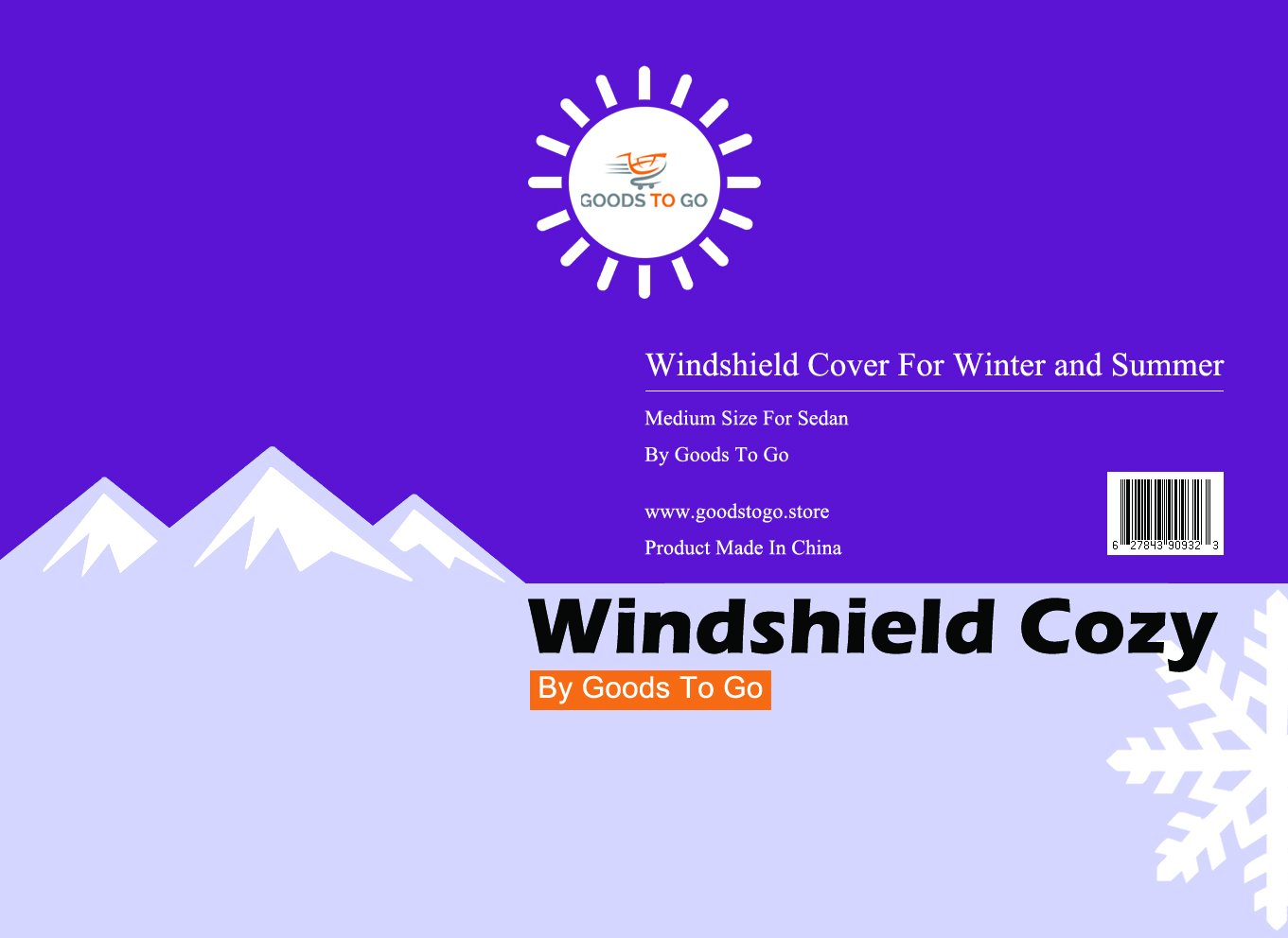 Sedan And Snow Truck Weather Resistance GoodsToGo Presents: The Windshield Cozy Snow Cover//Sunshade Protector With 3 x Strong Magnets At Bottom For Windproof Large /& Medium Sizes Available For Van SUV UV Rays Proof Ice Frost Windshield Protector