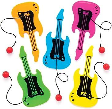Baker Ross- Paletas de plástico con forma de guitarra (Pack de 8) Divertido juego de pelota con paleta perfecto para ...