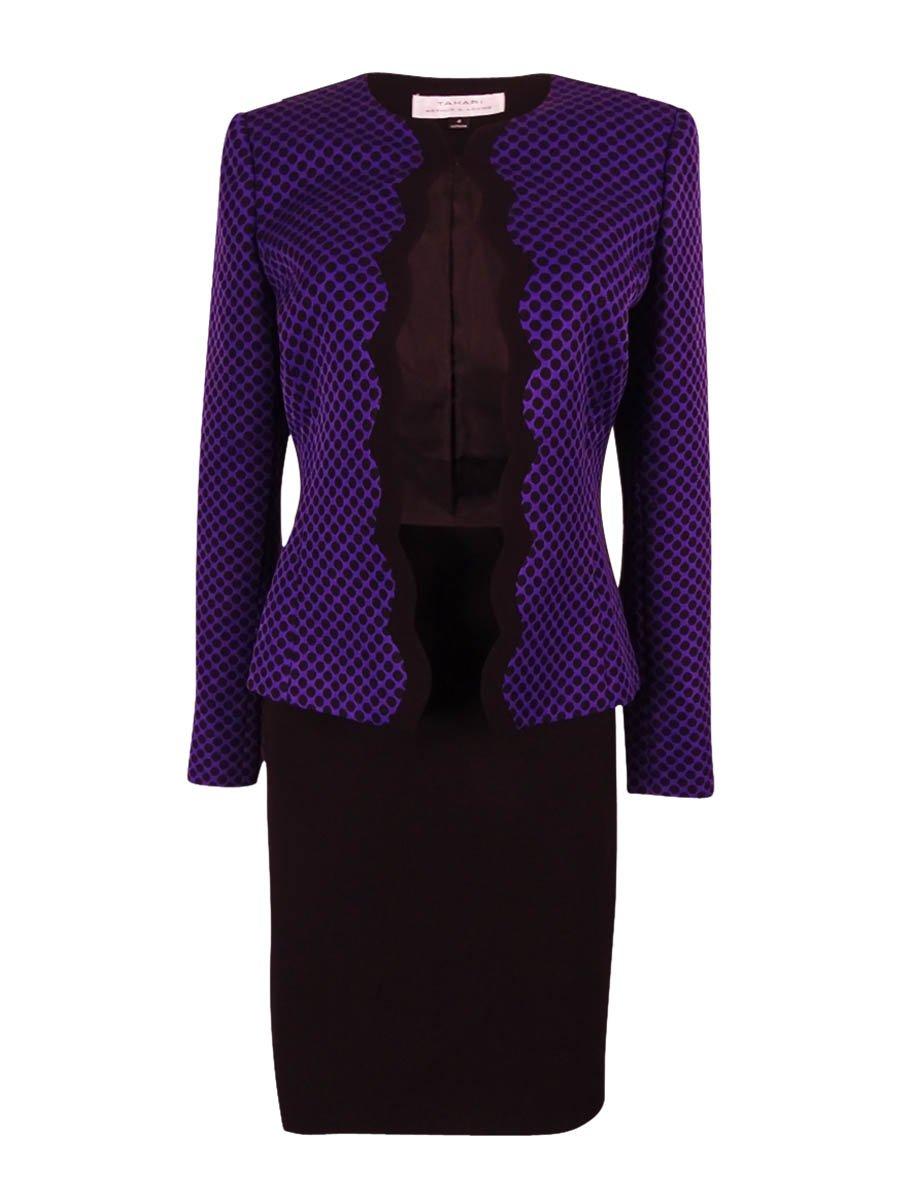 Tahari by Arthur S. Levine Women's Missy Jacquard Dot Skirt Suit, Grape/Black, 4
