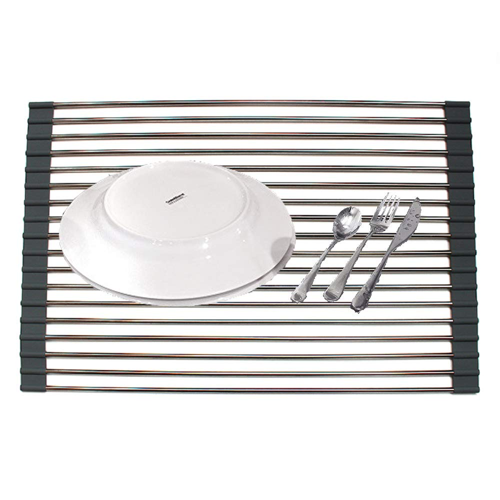 Stainless Steel Over Sink Roll-Up Dish Drying Rack Kitchen Drainer Rack Foldable Filter