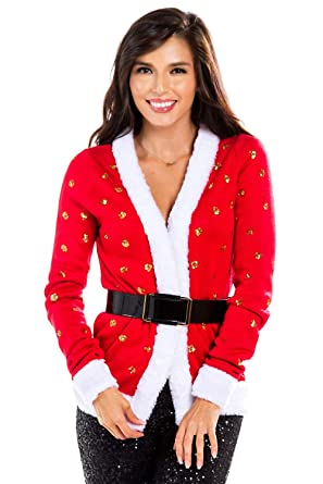 45e38fe70a Women s Sequin Mrs. Claus Christmas Sweater - Belted Red Santa Ugly  Christmas Cardigan Female