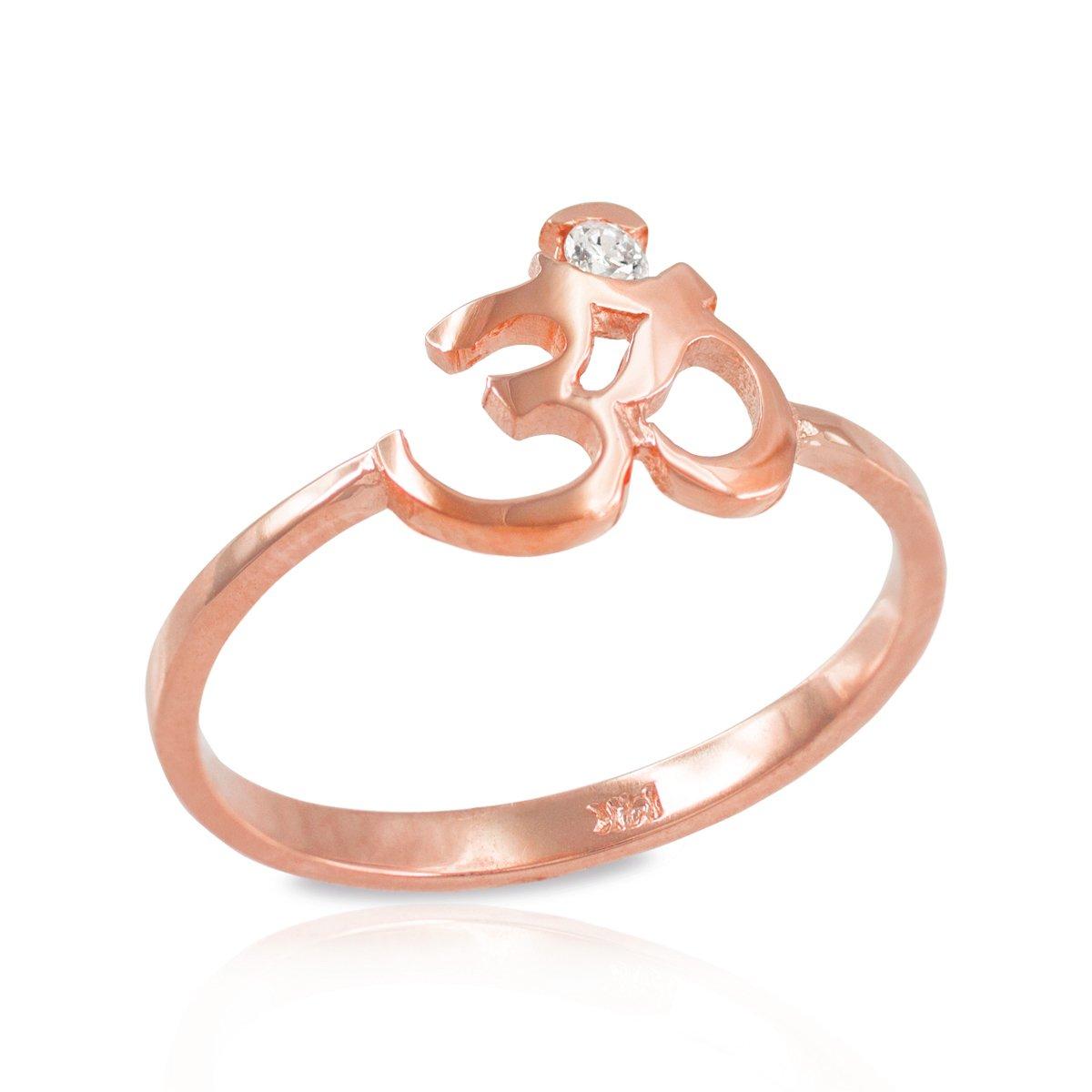 Dainty 10k Rose Gold Pink Yoga Meditation Band Diamond Om Ring (Size 6.25)