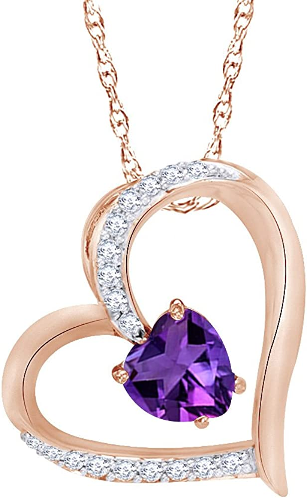 Wishrocks Heart Cut Simulated Amethyst and White Sapphire Heart Pendant Necklace in 14K Gold Over Sterling Silver