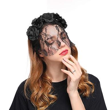 prix le moins cher vaste sélection artisanat de qualité Cercle floral coiffe Rouge/noir Voilette de mariage Serre ...