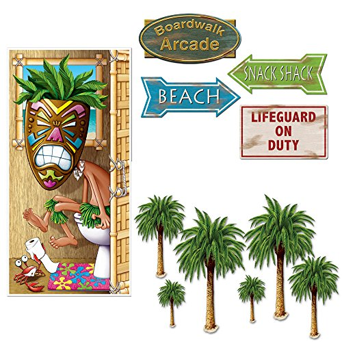 Door Bst - Luau Beach Party Decoration 11 Piece Bundle Door Cover Palm Tree Beach Sign Cutouts