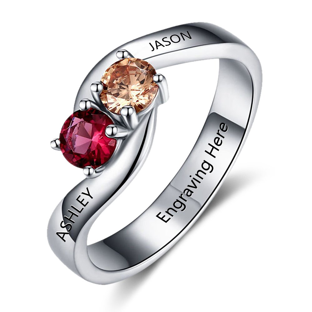 Love Jewelry Personalized Engagement Promise Ring Engraved 2 Names Couples Ring with 2 Simulated Birthstones (8)
