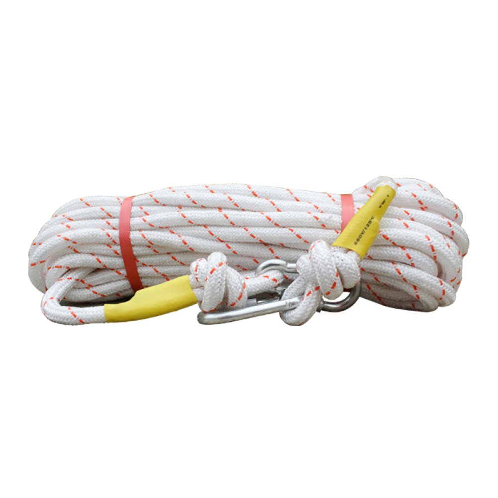 LDFN Rock Climbing Rope, Steel Wire Core, Outdoor, Mountain Climbing, Household, Nylon, Fire Escape Rope, Safety Rope,White-100m16mm