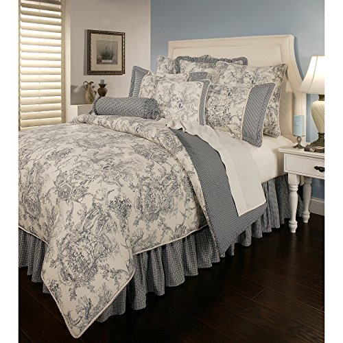 6 Piece Cal King, Cottage Shabby Chic Classic Toile Pattern Comforter Set, Victorian French Country Check Design, Mid-Century Gingham Farmhouse Themed, Reversible Bedding, Adorable Blue, Taupe Color