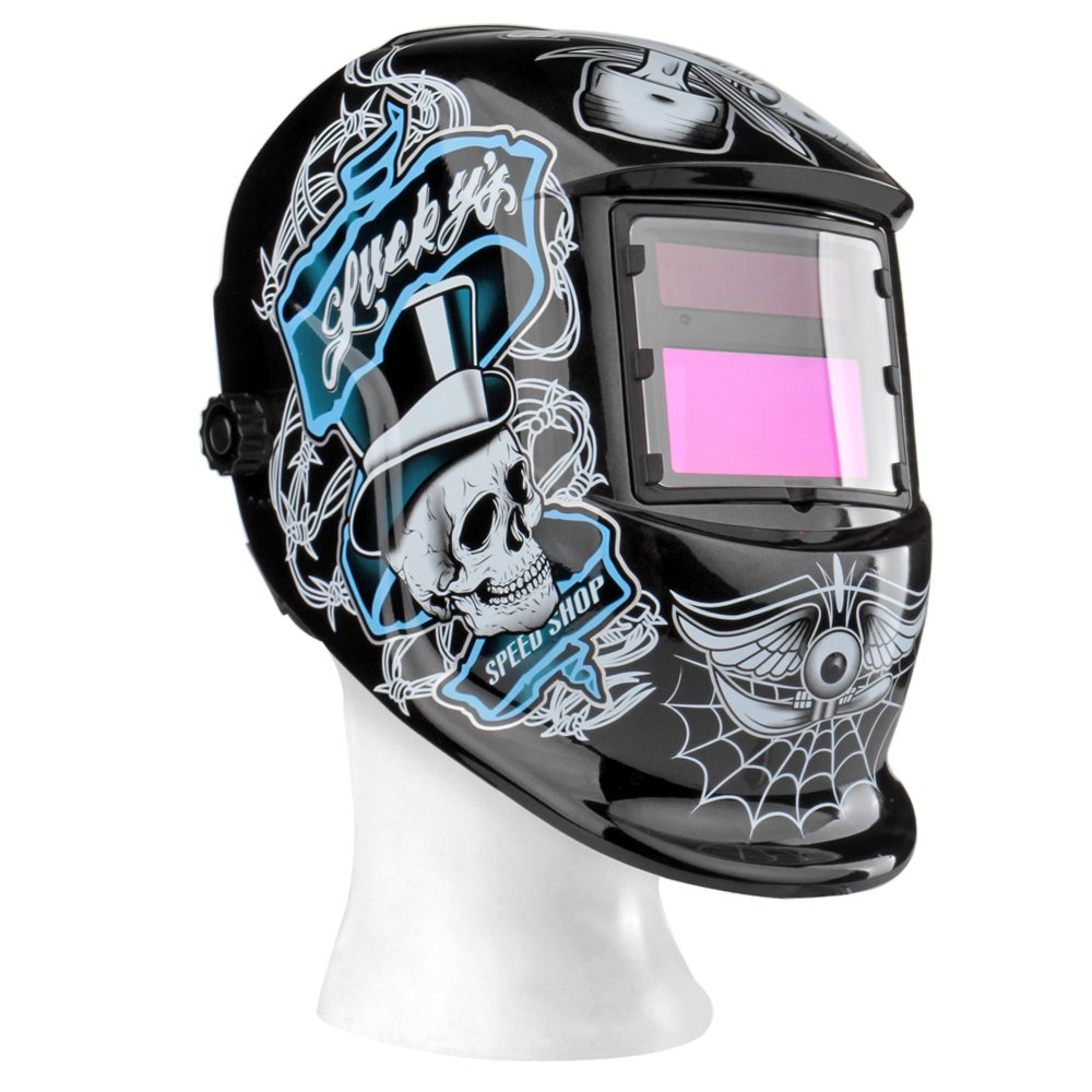 Flexzion Auto Darkening Welding Helmet Solar Powered Weld/Grind Selectable Mask Tool Monster on Black Face Protector for Arc Tig Mig Grinding Plasma Cutting with Adjustable Shade Range 9-13