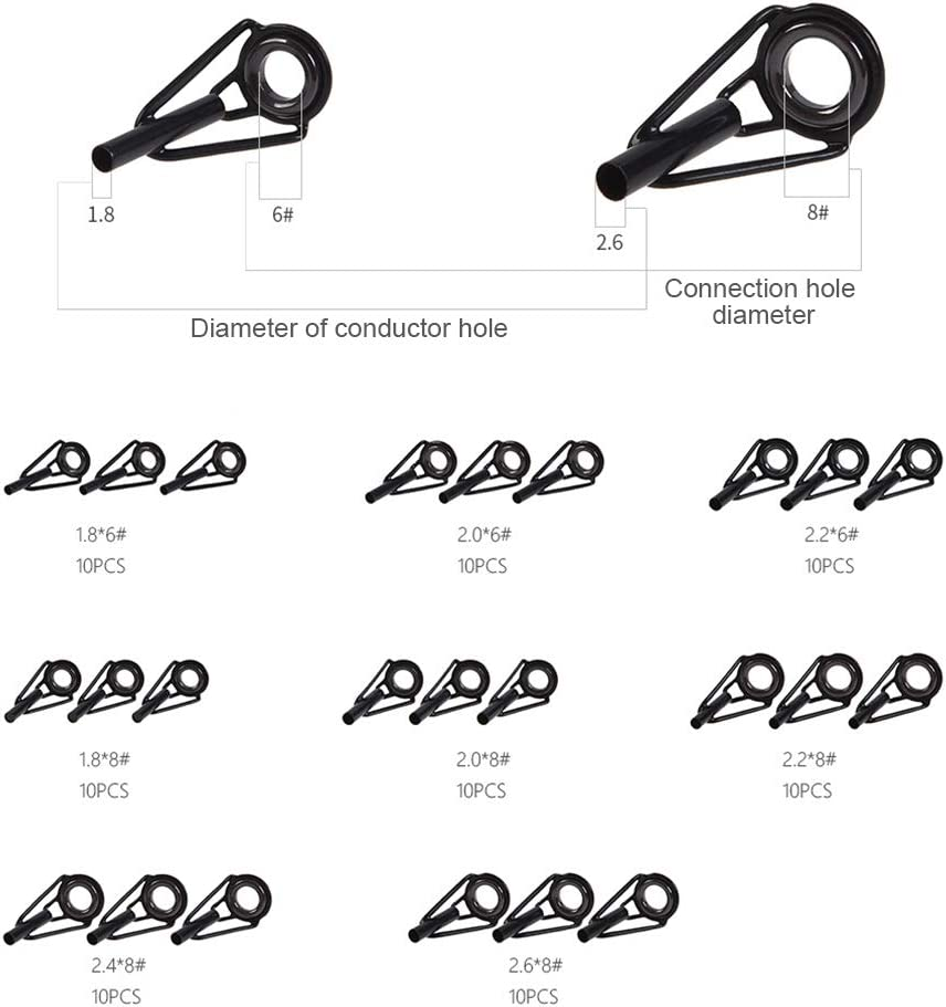 szdc88 80 St/ücke Angelrutenf/ührung,Werkzeugf/ührung Typ Kit Verschlei/ßfeste Robuste Multi Gr/ö/ße Augenringe Angelrute mit Box f/ür Spinnruten Seefischerei