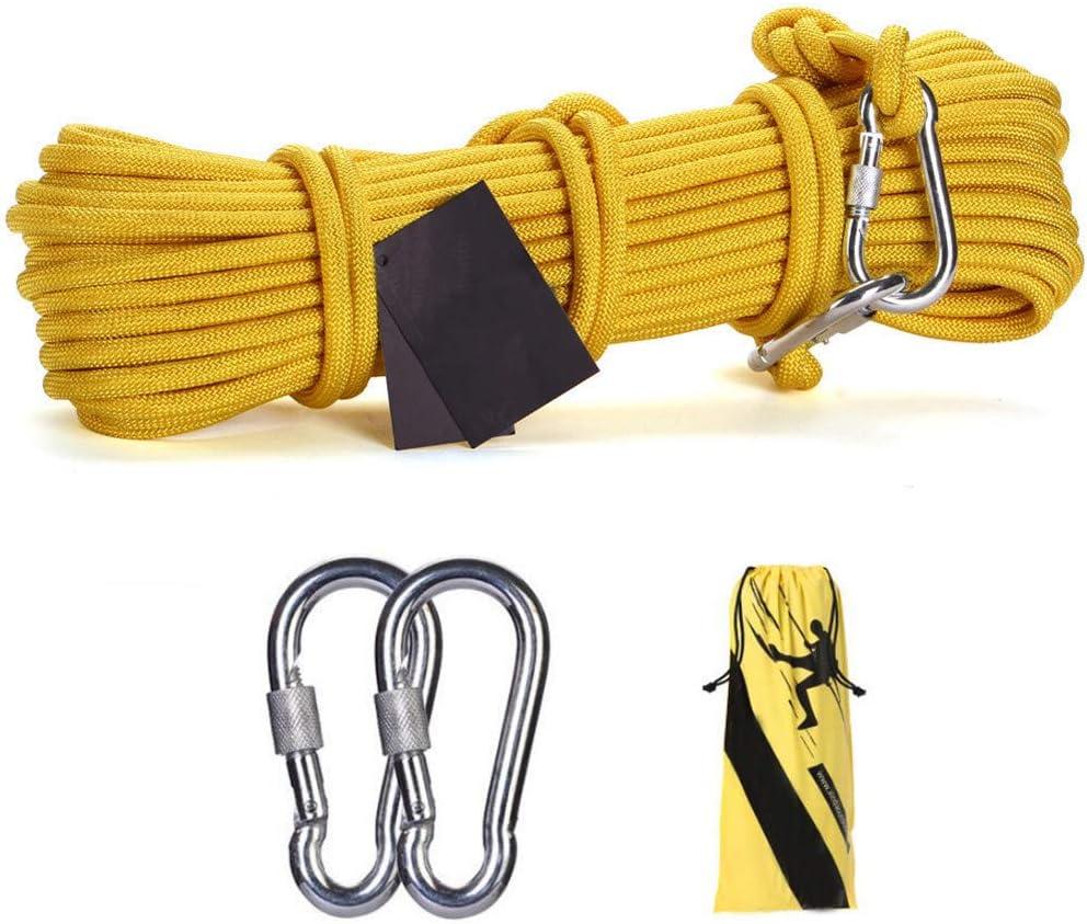 鋼線ロープ、10ミリメートル安全救助ロープ多機能物干しロープ付き2 *カラビナホーム緊急脱出ロープ、黄色,70m  70m