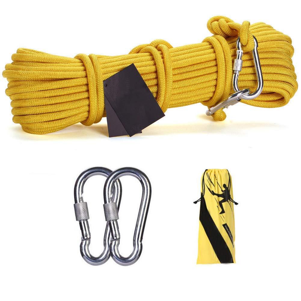 鋼線ロープ、10ミリメートル安全救助ロープ多機能物干しロープ付き2 *カラビナホーム緊急脱出ロープ、黄色,60m